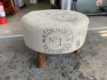 [8成新] 香榭*英倫風 實木腳棉麻布矮凳沙發矮凳有輕微破損