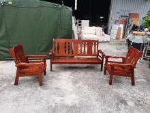 合運二手傢俱~實木1+1+3沙發木製沙發有輕微破損