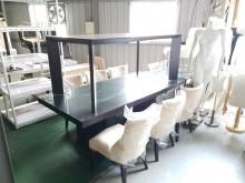 [8成新] 合運二手傢俱~胡桃色大餐桌+6椅餐桌椅組有輕微破損