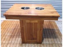 [8成新] 柚木2孔火鍋桌餐桌有輕微破損