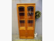 [9成新] 二手柚木色82公分玻璃書櫃書櫃/書架無破損有使用痕跡
