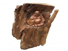 樟木彌勒佛收藏擺飾無破損有使用痕跡