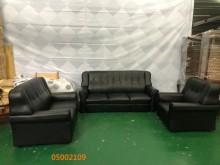 [9成新] 二手/中古 黑色皮1+2+3沙發多件沙發組無破損有使用痕跡