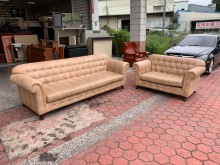 [9成新] 仿鱷魚皮土褐色 2+4人座沙發椅多件沙發組無破損有使用痕跡