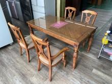 吉田二手傢俱❤實木餐桌椅組餐桌椅組無破損有使用痕跡