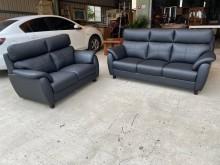 [全新] 黑色巴洛克仿牛皮獨立筒3+2沙發多件沙發組全新
