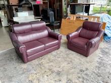 [8成新] 酒紅色皮革1+2人座 沙發椅組多件沙發組有輕微破損