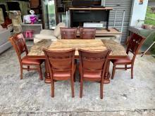 [8成新] 歐式胡桃實木 天然大理石餐桌椅組餐桌椅組有輕微破損