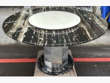 [9成新] 大理石圓桌 轉盤餐桌 伸縮餐桌餐桌無破損有使用痕跡