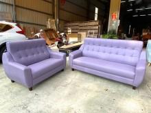 [全新] 新品亮紫色2+3獨立筒貓抓皮沙發多件沙發組全新