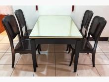 [8成新] 二手 胡桃石面餐桌椅組 一桌四椅餐桌椅組有輕微破損