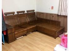 [9成新] 樟木實木L型桌椅組木製沙發無破損有使用痕跡