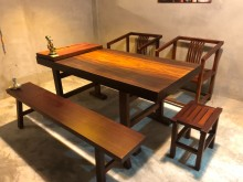 [全新] 非洲紅花梨實木餐桌椅全卡榫餐桌全新