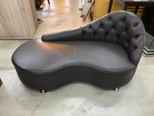 [9成新] 大慶二手家具 半牛皮深咖啡貴妃椅單人沙發無破損有使用痕跡