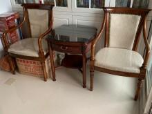 [95成新] 高檔木頭茶几桌椅[整組]茶几近乎全新