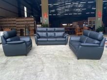 [全新] 黑色巴洛克仿牛皮獨立筒3+2+1多件沙發組全新