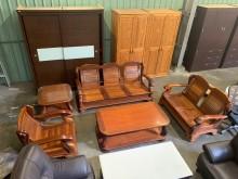 [9成新] 油油亮亮3+2+1實木沙發組木製沙發無破損有使用痕跡