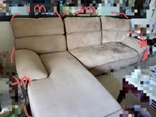 [8成新] 卡其色布沙發 (2人+貴妃椅)L型沙發有輕微破損