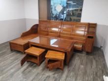 [9成新] 九成新武農小葉樟木L型沙發組(含木製沙發無破損有使用痕跡