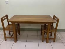 [9成新] 三折價! 詩肯柚木四人餐桌組餐桌椅組無破損有使用痕跡