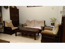 [9成新] 典雅溫潤:實木造型沙發+大小茶几木製沙發無破損有使用痕跡