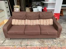 [8成新] 香榭*咖啡色亞麻布 三人座沙發椅雙人沙發有輕微破損