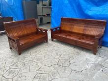 [9成新] 吉田二手傢俱❤實木2+3收納沙發木製沙發無破損有使用痕跡