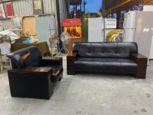 [9成新] 黑色1+3半牛皮沙發多件沙發組無破損有使用痕跡