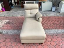 [9成新] 香榭二手家具*乳白色乳膠皮貴妃椅雙人沙發無破損有使用痕跡