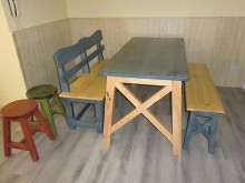 [9成新] 鄉村風實木餐桌餐桌無破損有使用痕跡