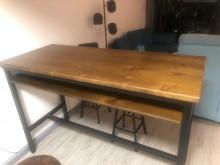 [95成新] 復古工業實木桌書桌/椅近乎全新