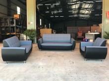 [全新] 蒼青藍配黑色半貓抓皮3+2+1多件沙發組全新
