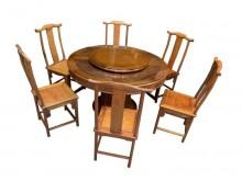 [9成新] RW7090花梨木圓型餐桌+6椅餐桌椅組無破損有使用痕跡