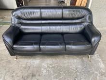 [95成新] 吉田二手傢俱❤黑色3人半牛皮雙人雙人沙發近乎全新