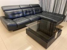 [8成新] 半牛皮L型三人沙發L型沙發有輕微破損