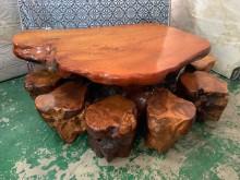[9成新] 正檜木泡茶桌含7椅*接待桌其它桌椅無破損有使用痕跡