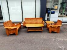 [9成新] 橡木實木五件組*1+2+3+大小木製沙發無破損有使用痕跡