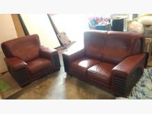 [9成新] 【尚典】棕紅色2+1半牛皮沙發多件沙發組無破損有使用痕跡