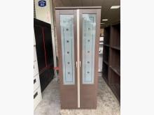 [8成新] 胡桃色2.5尺 玻璃雙拉門衣櫃衣櫃/衣櫥有輕微破損