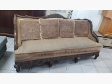 [9成新] 宮廷式桃花心木4人座布沙發木製沙發無破損有使用痕跡