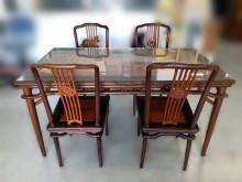 [9成新] 檀柚木餐桌+4椅組餐桌椅組無破損有使用痕跡