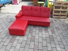 [9成新] 紅色皮製小L型沙發H03010L型沙發無破損有使用痕跡