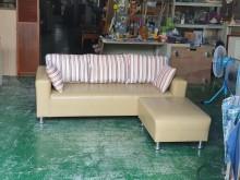[9成新] 合運二手傢俱~三人座皮沙發+腳凳多件沙發組無破損有使用痕跡