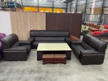 [9成新] 咖啡色3+2+1半牛皮沙發多件沙發組無破損有使用痕跡