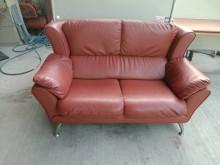 [9成新] 咖啡紅皮製雙人沙發H03031雙人沙發無破損有使用痕跡