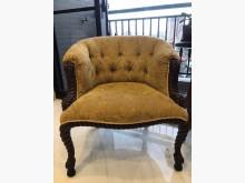 [9成新] 古典核桃木拉釦提花單人椅2張其它桌椅無破損有使用痕跡