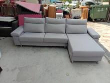 [9成新] 亞麻布淺灰L型沙發H03094L型沙發無破損有使用痕跡