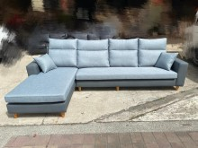 [全新] 新經典藍色亞麻布配貓抓皮L型沙發L型沙發全新