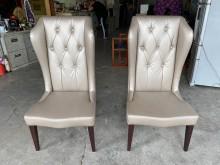 [9成新] 卡其金水鑽餐椅(一對)餐椅無破損有使用痕跡