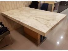 [9成新] 銀狐石 餐桌 大理石 實木餐桌無破損有使用痕跡